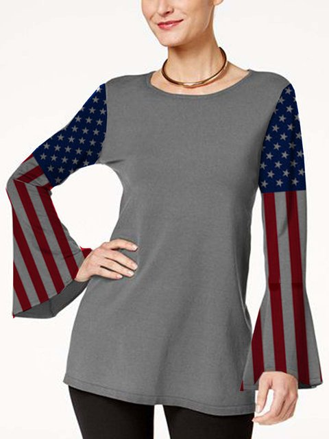 American flag print flared sleeves fit long knit top
