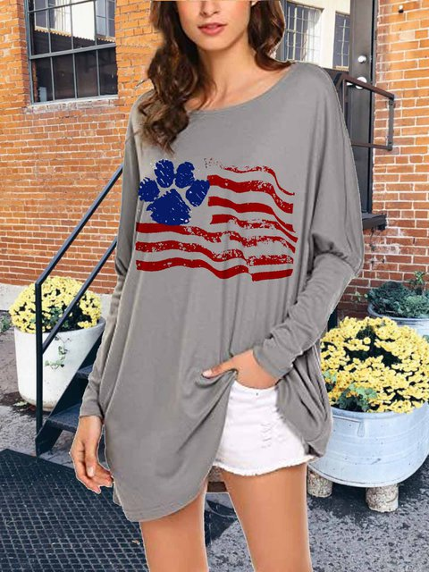 Long-sleeved long knitted comfort bottoming printed top