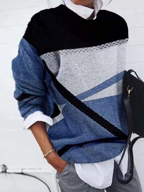 Blue Casual Stand Collar Long Sleeve Sweater