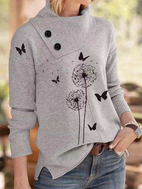 Gray Shift Casual Acrylic Sweater