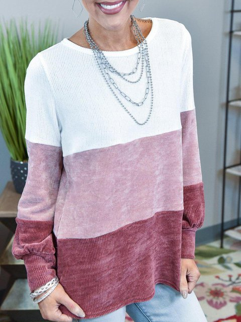 Pink Ombre/tie-Dye Cotton-Blend Casual Shirts & Tops