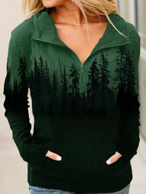 Long Sleeve Plants Casual Sweatshirt Pullover