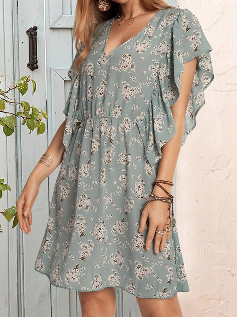 Blue Short Sleeve Floral Dresses