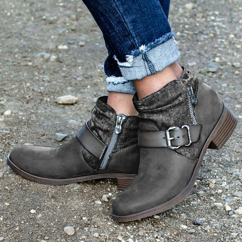 Artificial Leather Zipper Date All Season Boots