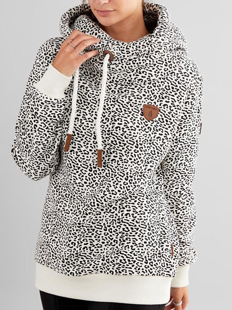 White Hoodie Long Sleeve Polka Dots Sweatshirt