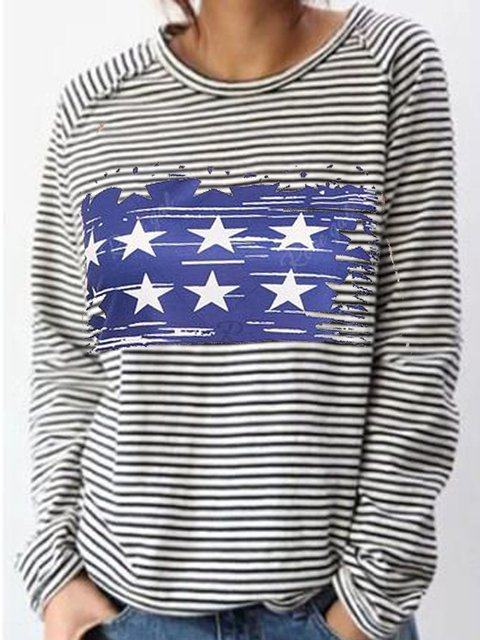 Striped Print Loose Knit Long Sleeve Top