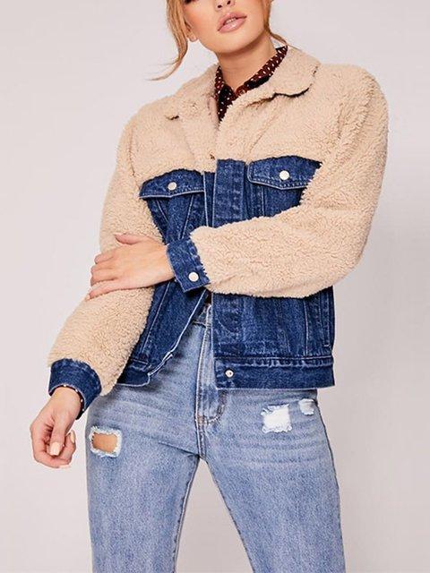 Autumn And Winter Stitching Woolen Denim Jacket
