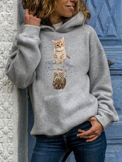 Cartoon Cat Print Long Sleeve Casual Hoodie Sweatshirt
