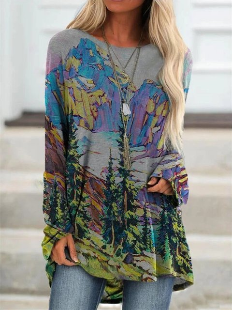 Printed Casual Round Neck Cotton Long Sleeve Shirts & Tops