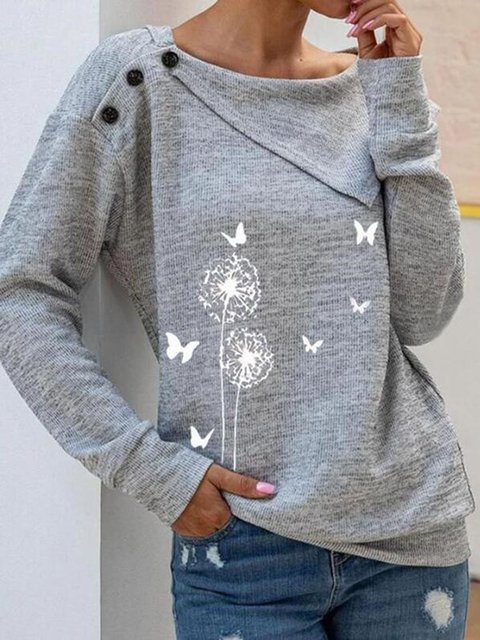 Floral Casual lapel Neckline Long Sleeve Blouses