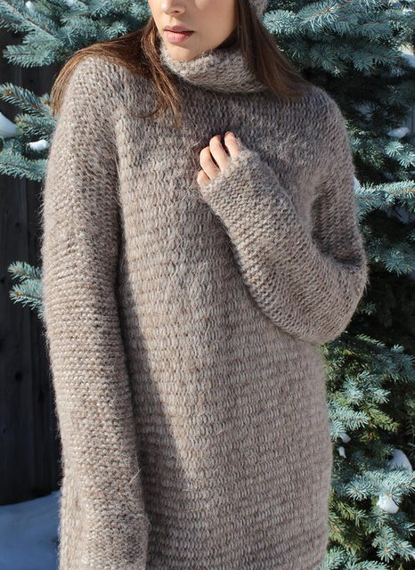 Cotton-Blend Casual Solid Turtleneck Sweater
