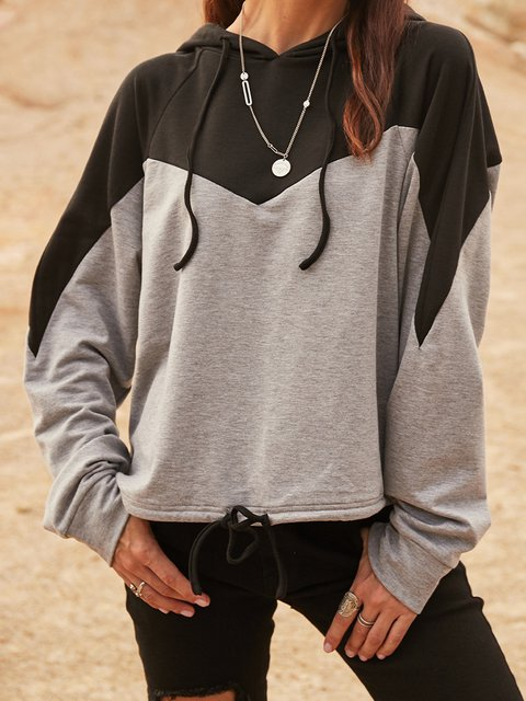 Black Color-Block Casual Sweatshirt
