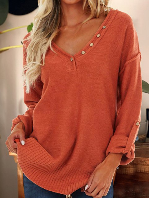 Brick Red Acrylic Plain Long Sleeve V Neck Sweater