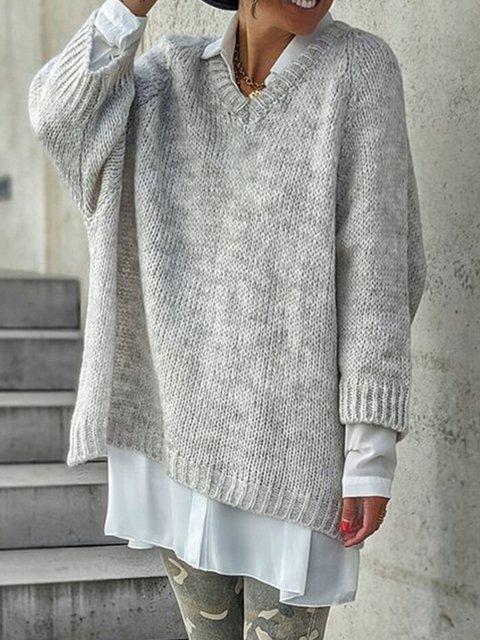 Gray V Neck Long Sleeve Sweater