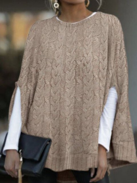 Batwing casual round neck knitted shawl