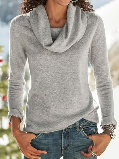 Gray Casual Turtleneck Shirts & Tops