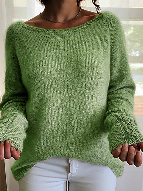 Green Long Sleeve Crew Neck Sweater