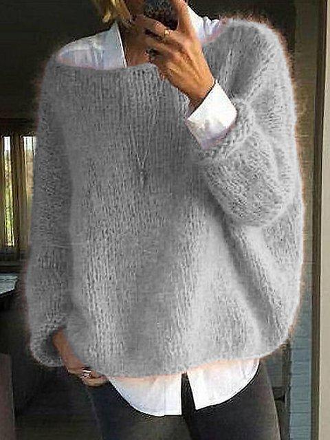Gray Plain Long Sleeve Acrylic Sweater
