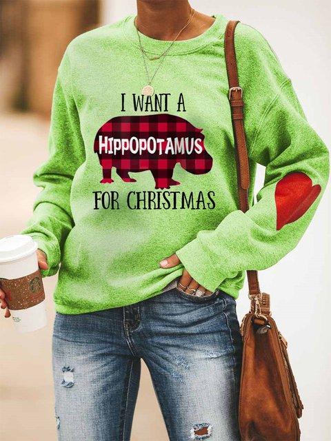 Christmas Red Plaid Hippo Print Hooded Long Sleeve Sweatshirt