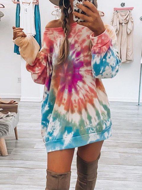 New Tie-Dyed Hoodie With Round Neck