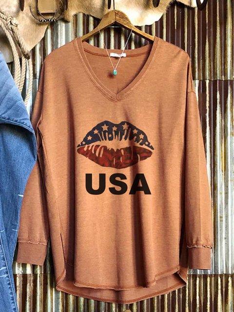 American flag fun print long-sleeved comfortable sweatshirt