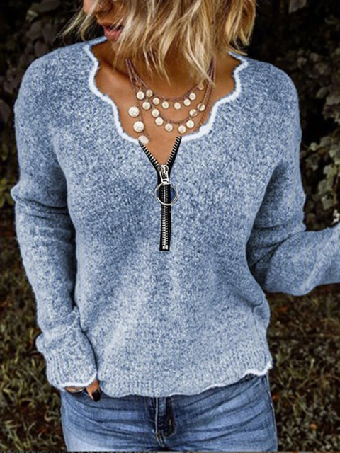 Blue Shift V Neck Casual Sweater