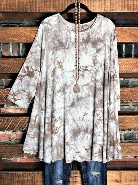 Multicolor A-Line Long Sleeve Cotton-Blend Ombre/tie-Dye Shirts & Tops