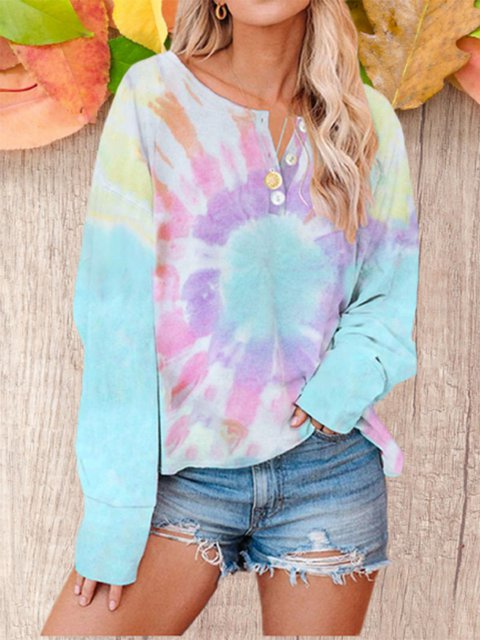Long Sleeve Hoodie With Loose Tie-Dye Print Twist Button