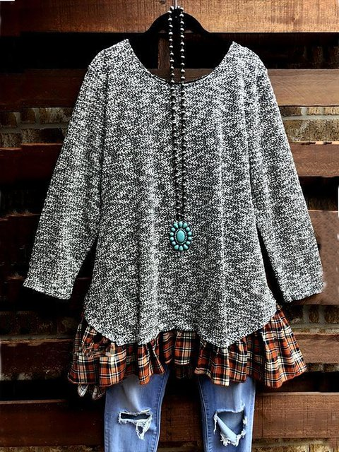 Solid Casual Round Neck Tunic Tops or Mini Dress