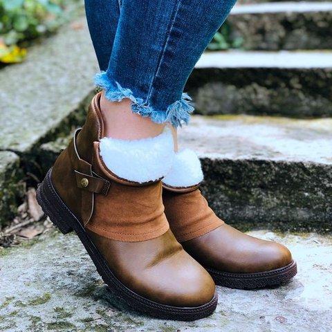 Brown Winter Flat Heel Boots