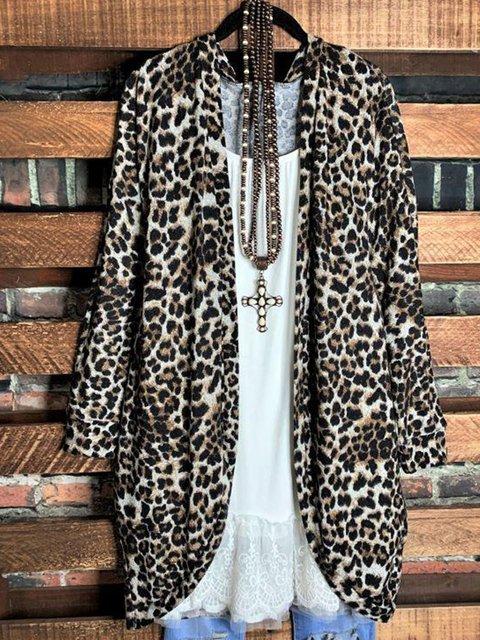 Leopard Long Sleeve Cotton-Blend Leopard Shift Outerwear