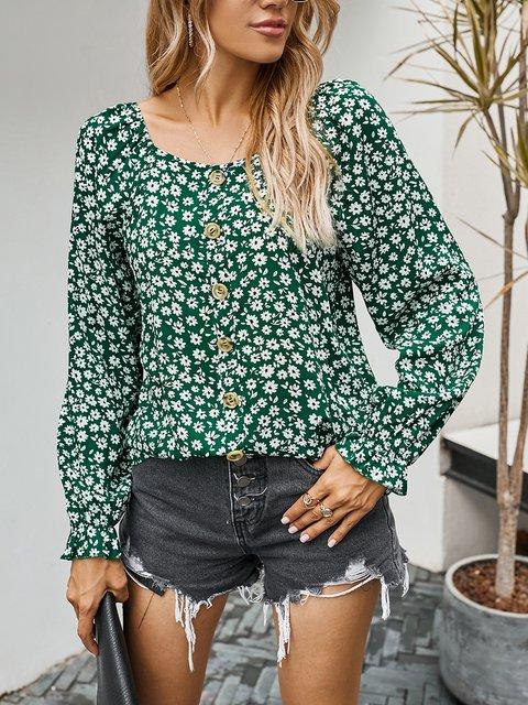 Boho V Neck Floral Printed Shirts & Tops