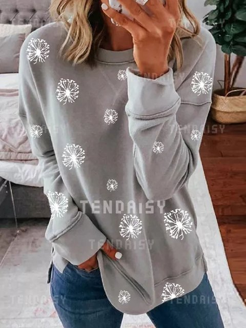Floral Casual Round Neckline Long Sleeve Blouses