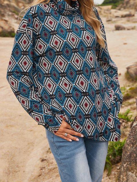 Blue Cotton-Blend Geometric Paneled Casual Shirts & Tops