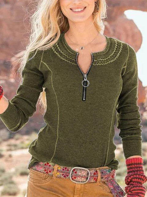 Green Casual Long Sleeve Crew Neck Shirts & Tops