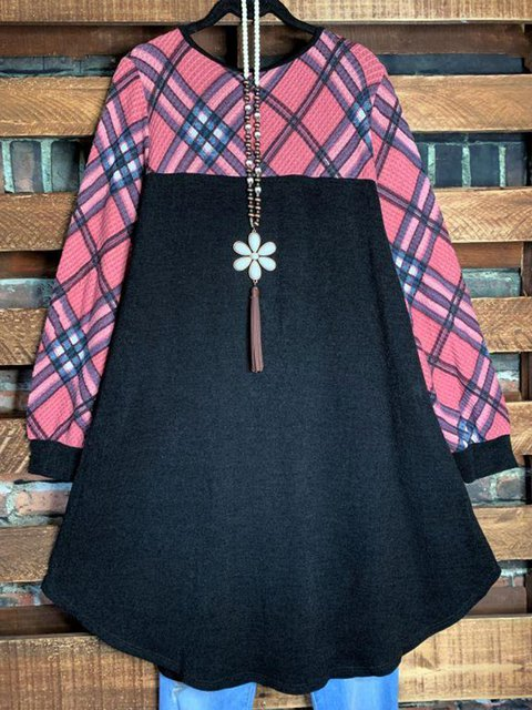 Black Checkered/plaid Cotton-Blend Long Sleeve Dresses