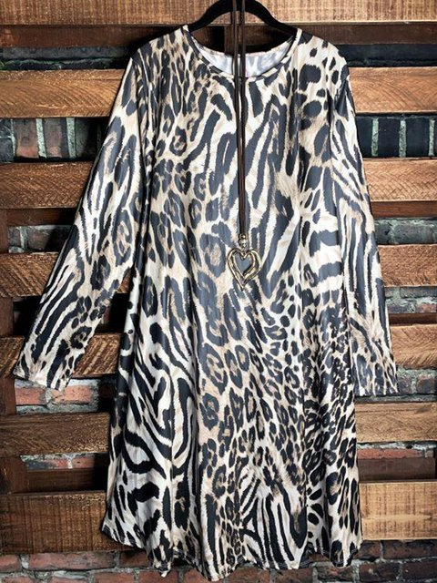Leopard Cotton-Blend Leopard Long Sleeve Dresses