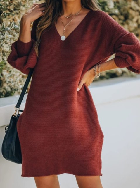 Balloon Sleeve V Neck Cotton Casual Knit Dresses