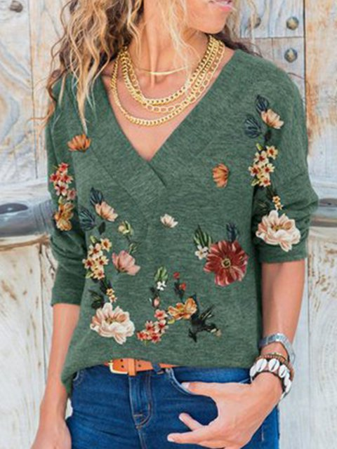 Green Floral Casual V Neck Shift Shirts & Tops