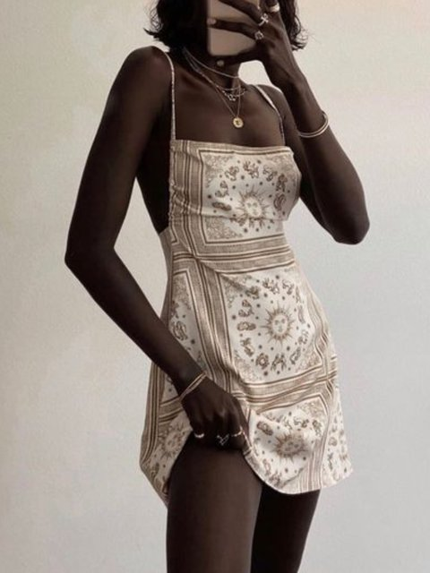 Printed Vintage Spaghetti Dress