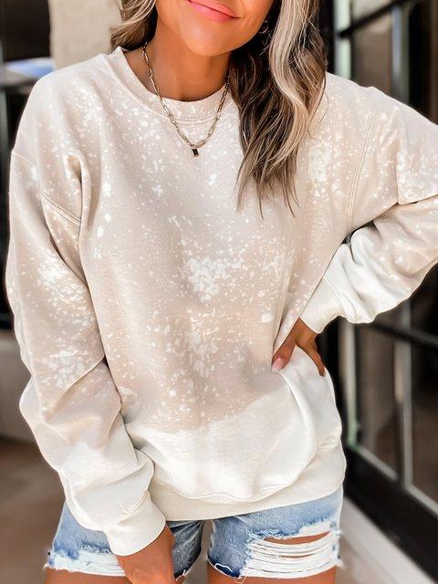 Khaki Casual Crew Neck Women's Fashion Print Sweatshirt