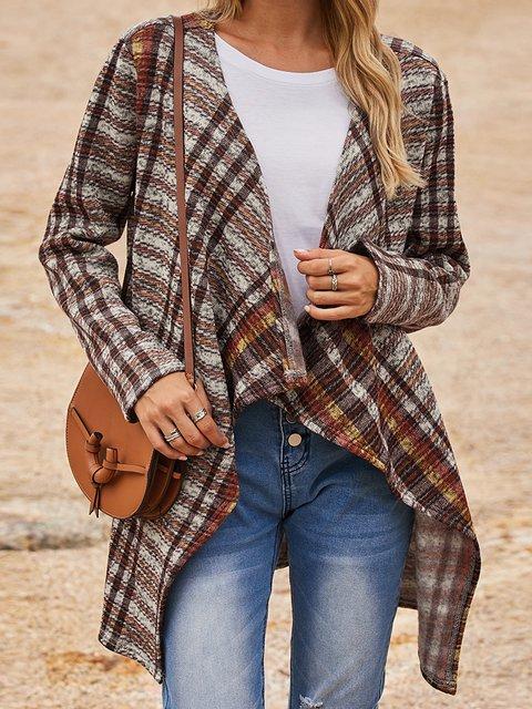 Brown V Neck Cotton-Blend Long Sleeve Outerwear