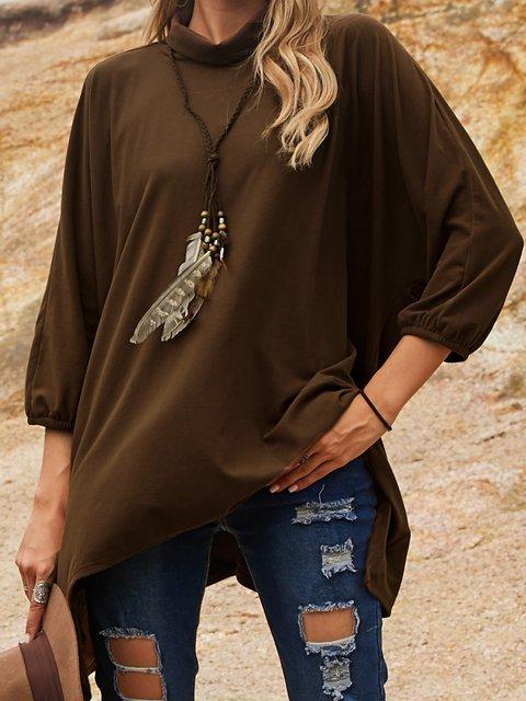 Brown Cotton-Blend Long Sleeve Shirts & Tops