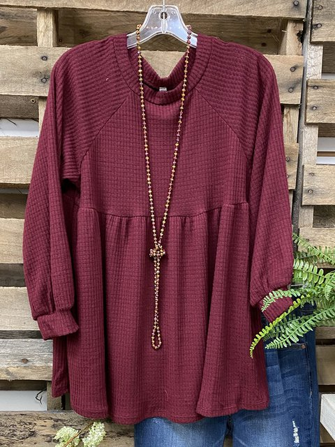 Wine Red Plain Long Sleeve Crew Neck Cotton-Blend Shirts & Tops