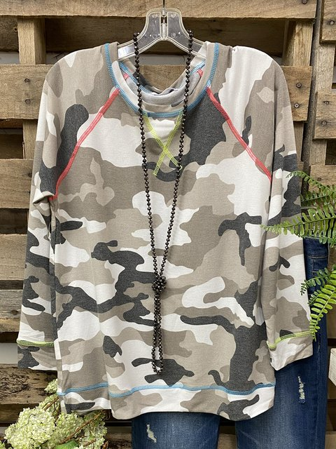 Camouflage Gray Cotton-Blend Long Sleeve Shirts & Tops