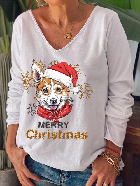 Christmas Dog Print V-neck Loose Long Sleeve T-shirt