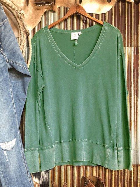 Green Long Sleeve V Neck Cotton-Blend Sweatshirt