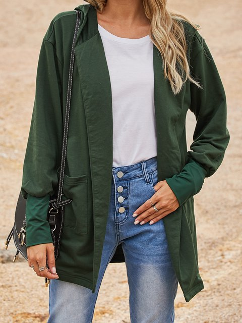 Green Casual Cotton-Blend Paneled Outerwear