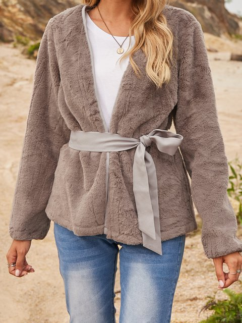 Gray Plain Casual Paneled Cotton-Blend Outerwear