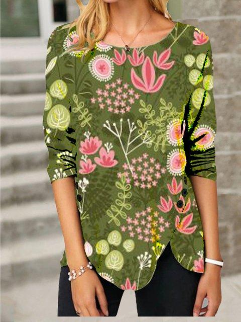 Green Casual Long Sleeve Shirts & Tops